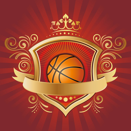 basketball,shield,crown,red background Vector