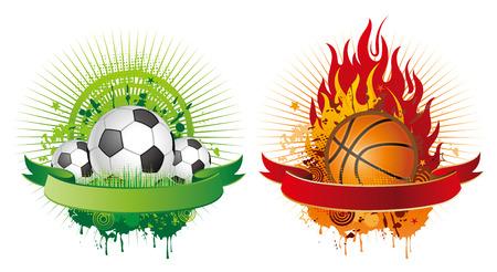 elementos de diseño de fútbol y baloncesto  Vectores
