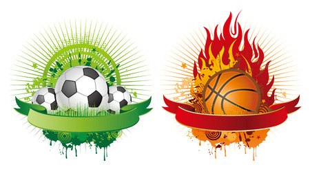 soccer and basketball design elements Vector