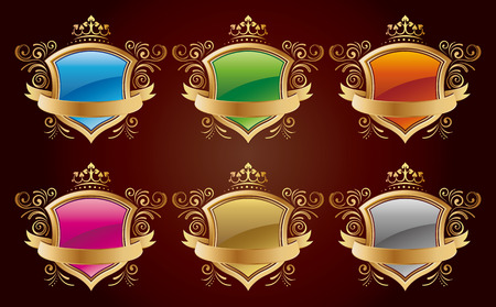 shield with golden border design set Vector