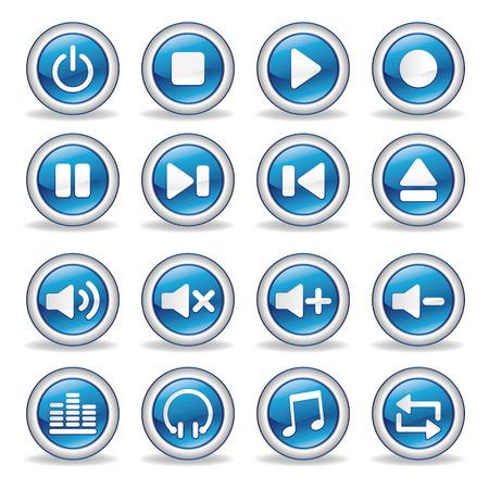 grabadora: colecci�n de botones de brillante de reproductor de medios de comunicaci�n