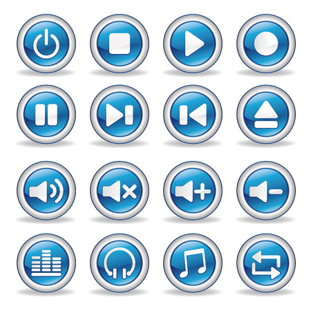 audio electronics: collection of media player glossy buttons