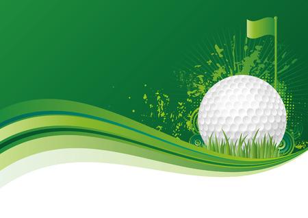 高尔夫设计元素,绿色背景