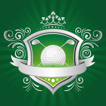golf,shield,crown,green background Vector