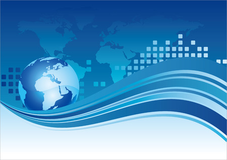 earth, world, wave,blue background Vector