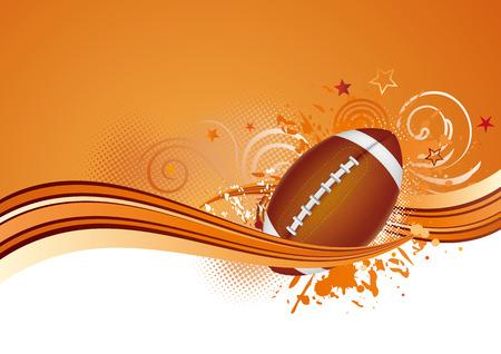 curve ball: football design elements,orange background