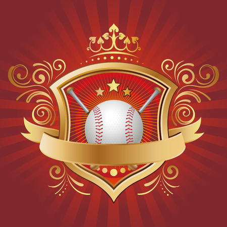 baseball,shield,crown,abstract background Vector