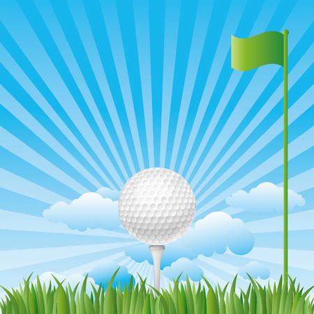 golf on grass with blue sky Vector