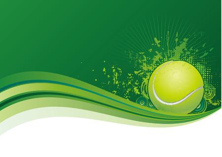Fondo de verde, los elementos de diseño de tenis  Ilustración de vector