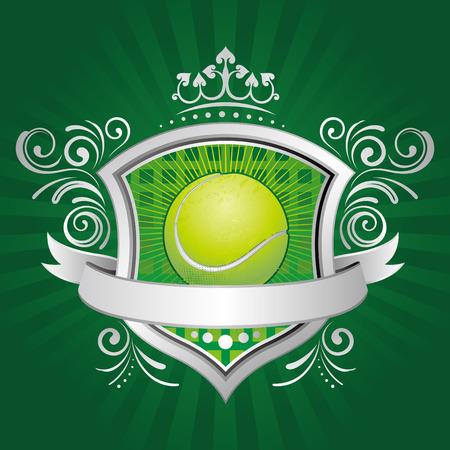 tennis: tennis, bouclier, Couronne, contexte abstrait