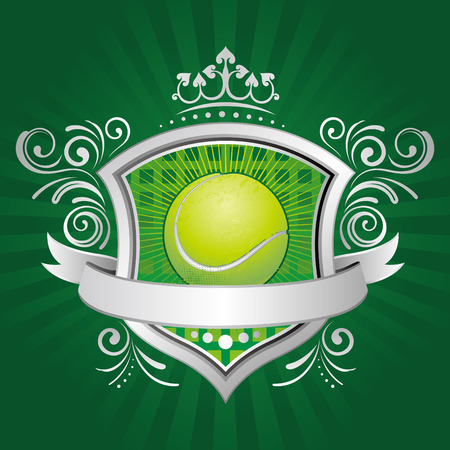 Tennis: Tennis, Shield, Krone, abstract background