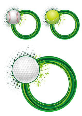 sports equipment with round border Stock Vector - 7528480