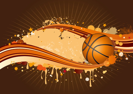 grunge shape: basketball background Illustration