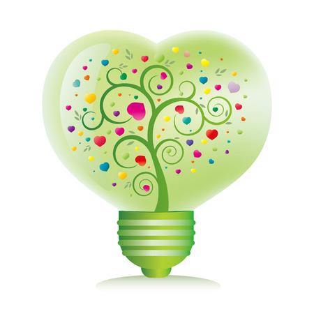 green bulb: green heart light bulb isolated on white background