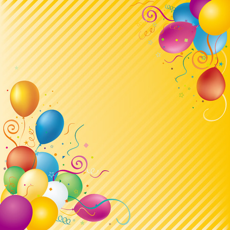 balloons,confetti,star,yellow background Stock Vector - 7528555