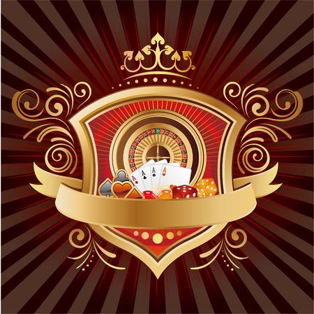 카지노 요소, 방패, 왕관, 검은 배경