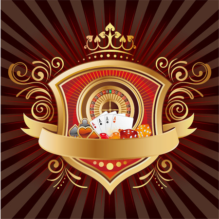 casino elements,shield,crown,black background Vector