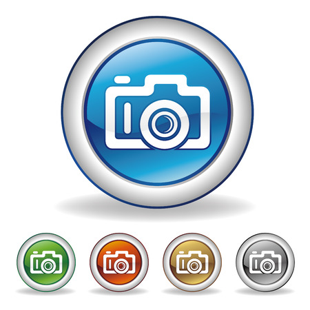 click icon: camera icon set Illustration