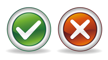 white check mark sign: ok and cancel button set Illustration