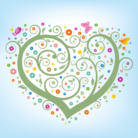 heart floral,green tree,colorful flowers Vector
