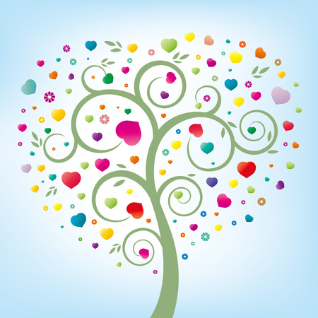 heart,green tree,colorful flowers Vector