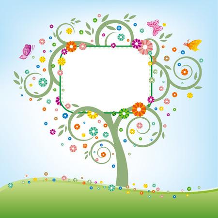 papillon dessin: arbre, billboard, floral Illustration