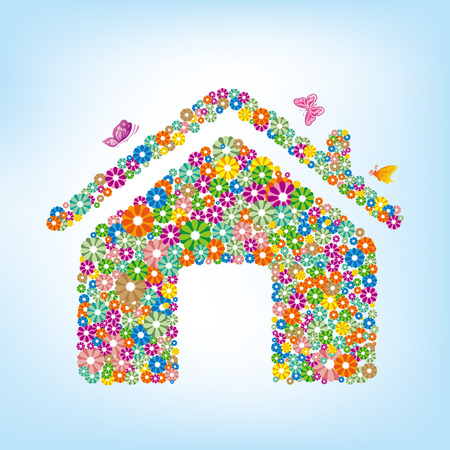 floral house 向量圖像