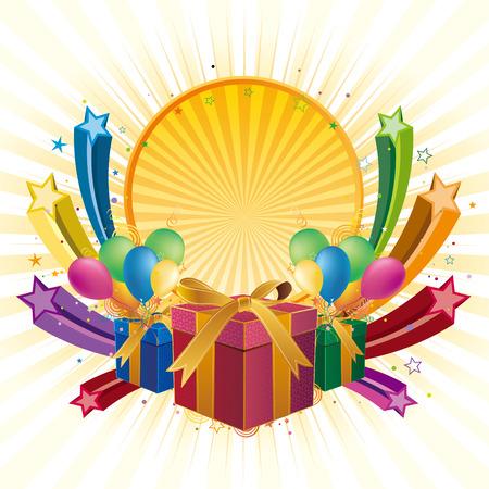 verjaardag frame: geschenk doos, ballon, ster, viering achtergrond