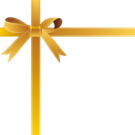 gift bow: illustration-gold gift bow