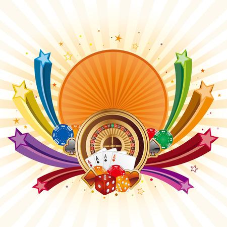 gambling chip: elementos de dise�o de casino estrella, coloridos