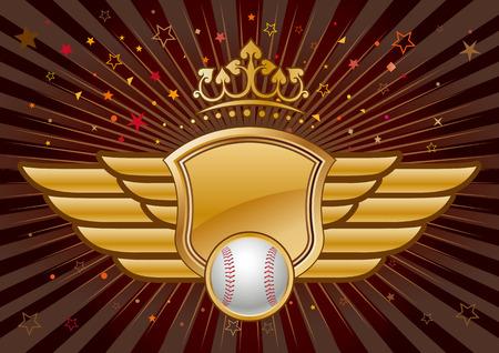 blasone: Baseball, scudo e corona  Vettoriali
