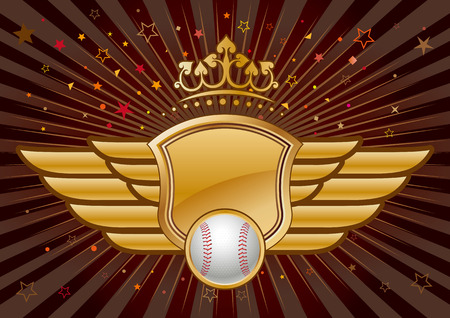 blazon: baseball,shield and crown