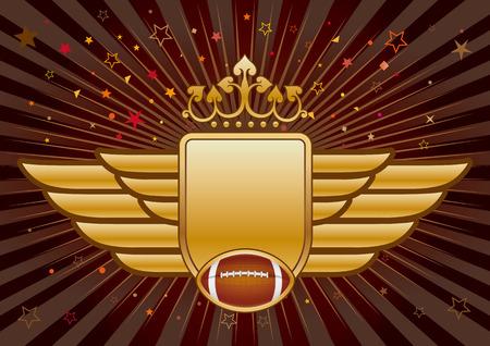 crown wings: american football,shield and crown