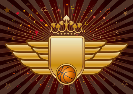 basketball,shield and crown Vector