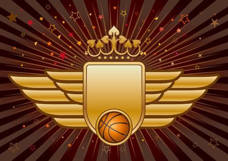 basketball,shield and crown Ilustração