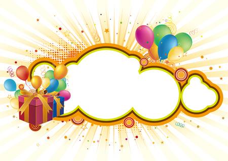 anniversary party: confezione regalo, fumetto, sfondo di celebrazione  Vettoriali