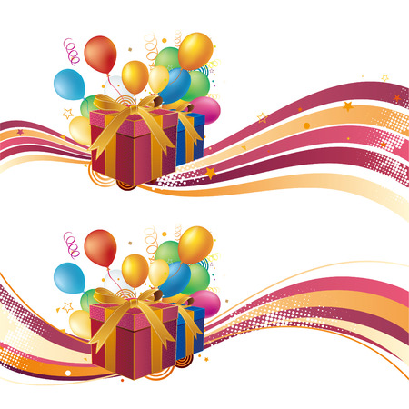 year curve: gift box,balloon,celebration background Illustration