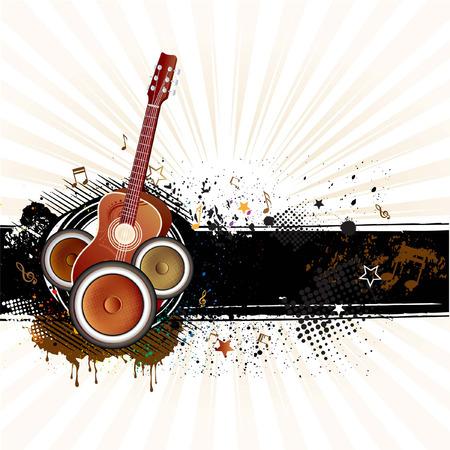 guitarra, tinta de grunge, fondo de música  Ilustración de vector