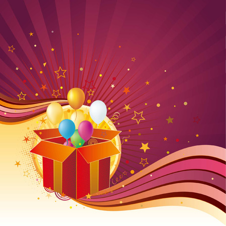 verjaardag frame: geschenk doos, ballon, viering achtergrond  Stock Illustratie