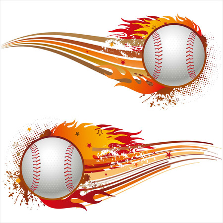 baseballs: flame,baseball design element