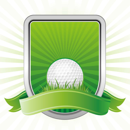 golf,shield,green background Vector
