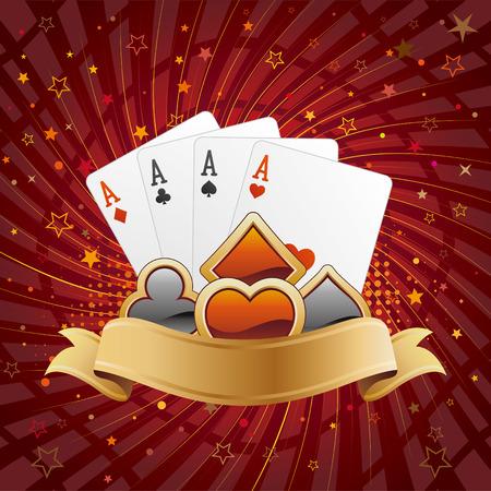 jeu de cartes: �l�ments de conception de casino, contexte abstrait  Illustration