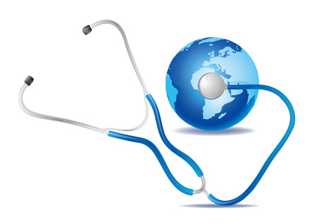 stethoscope and blue earth Vector