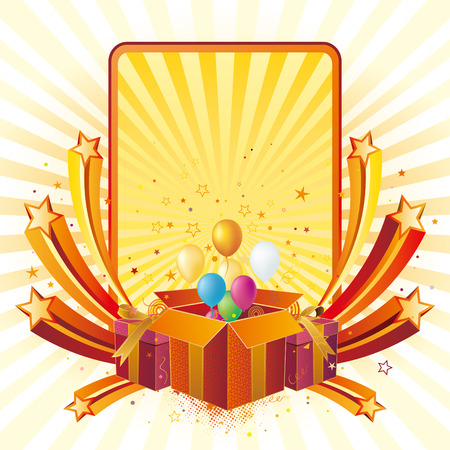geschenk doos, ballon, viering achtergrond  Vector Illustratie