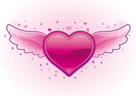 heart with wings:   illustration-heart and wings