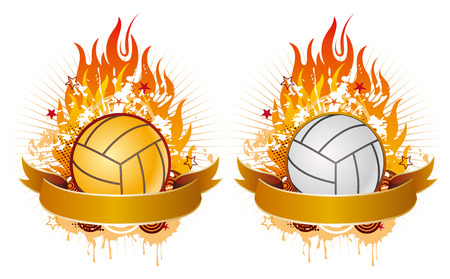 volleyball,flames,design element Vector