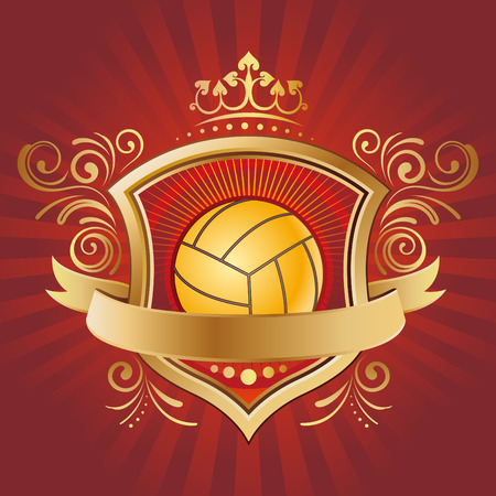 volleyball,shield,crown,abstract background Vector