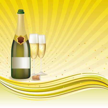 alcoholic beverage: champagne, celebration background Illustration