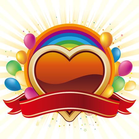 palloncino cuore: cuore, fumetto, sfondo di celebrazione