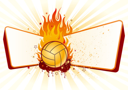 volleyball,flames,design element Vector